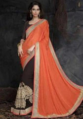 Orange and Dark Chocolate Color Half Jacquard Crepe and Half Georgette Designer Sarees : Saanjh Collection  YF-23461