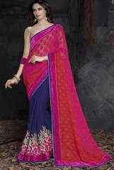 Pink, Red and Blue Color Half Brasso and Half Georgette Designer Sarees : Saanjh Collection  YF-23470