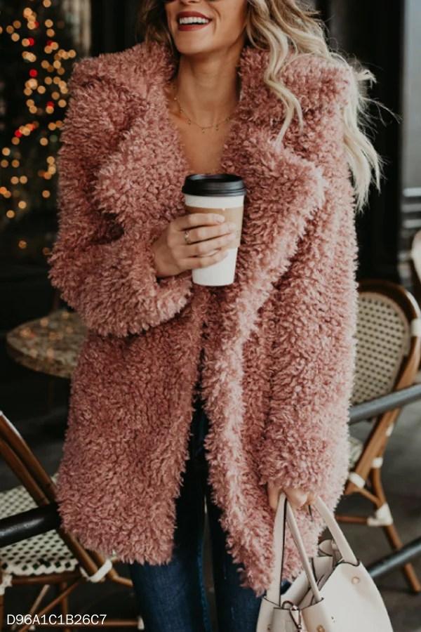 Fur Collar Plain Elegant Teddy Outerwear