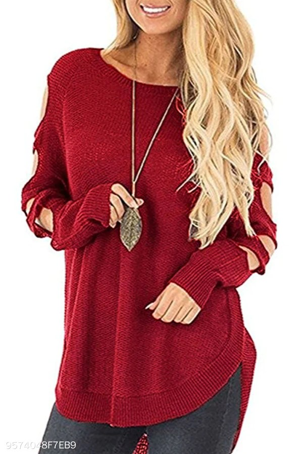 Crew Neck Asymmetric Hem Crochet Plain Sweaters
