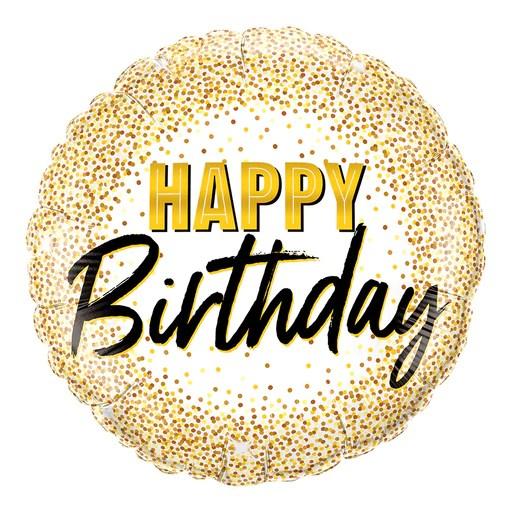 Classy Happy Birthday Gold And White Helium Balloon