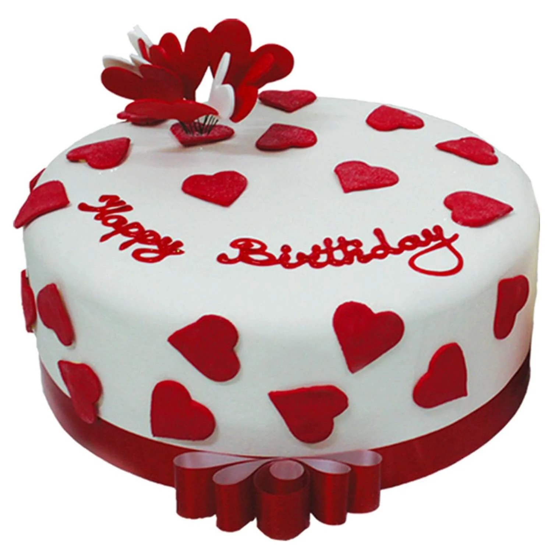 Happy Birthday Cake With Hearts Order Online Expressluv