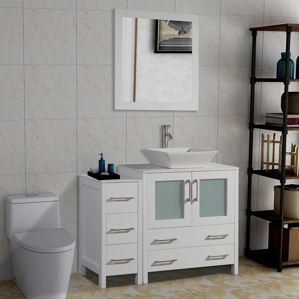 42 inches single sink bathroom vanity combo set 5 drawers 1 shelf 2 cabinet white quartz top and ceramic vessel sink bathroom cabinet with free mirror