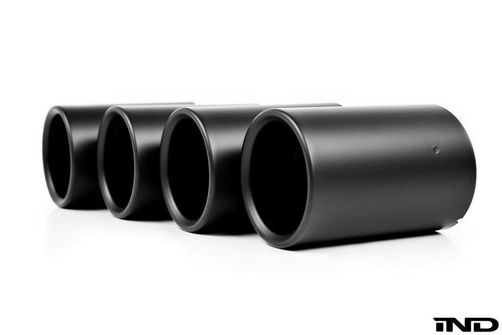 ind f87 m2 matte black coated exhaust tip set