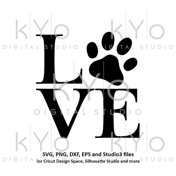 Download Paw svg Love Paw Print svg Animal svg Dog Cat Love svg ...