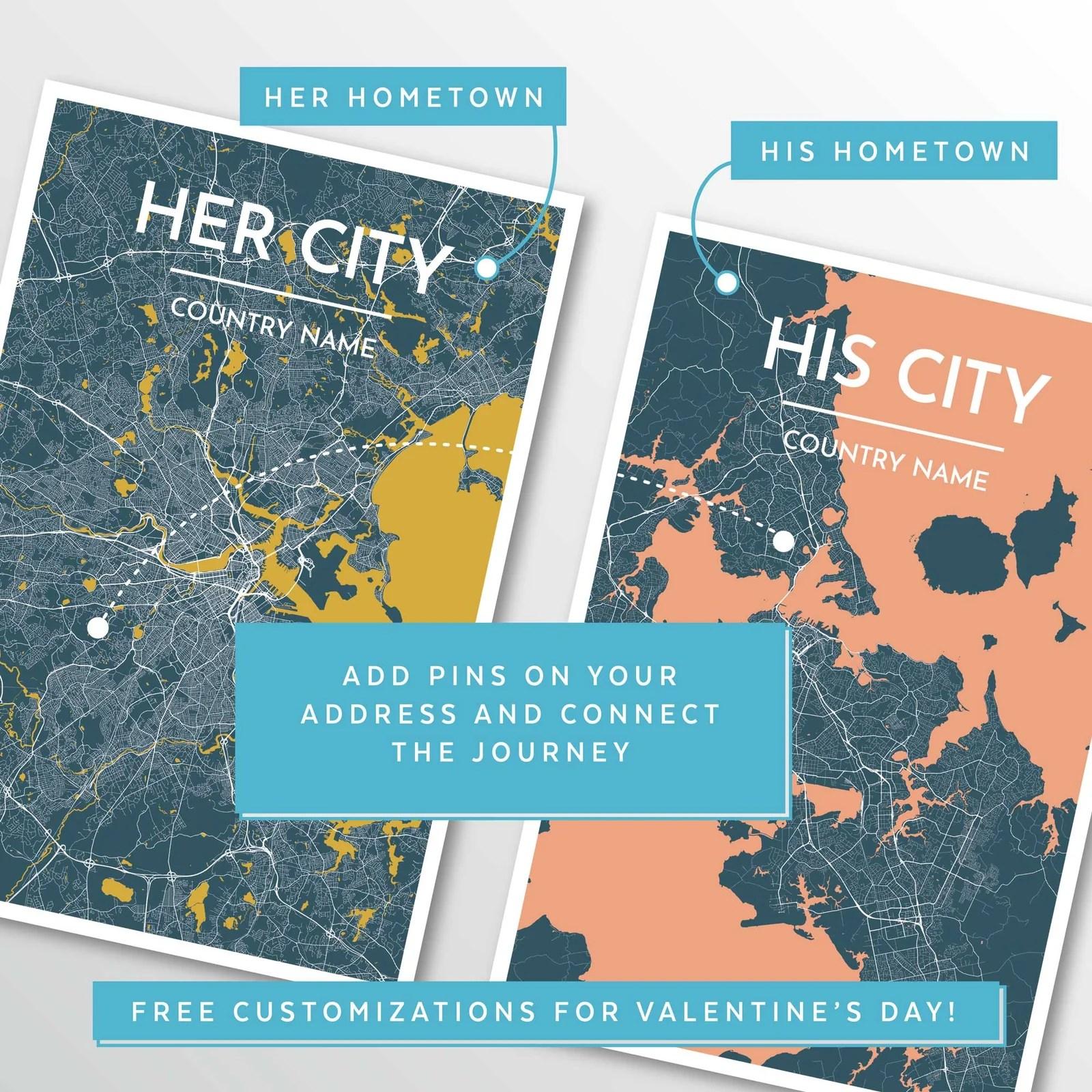 custom city map art prints high