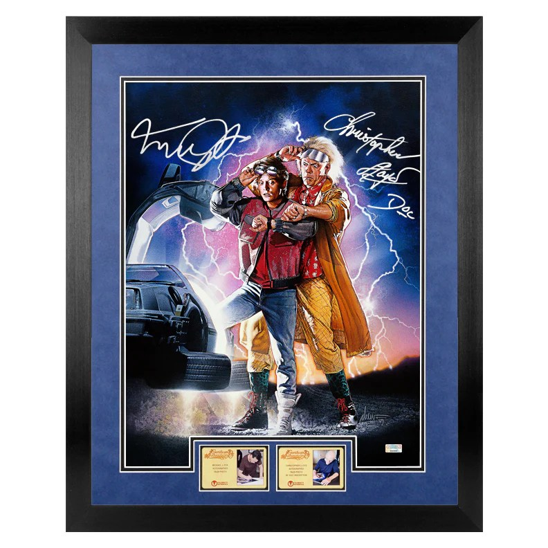 michael j fox christopher lloyd autographed back to the future ii marty mcfly doc brown 16x20 poster art
