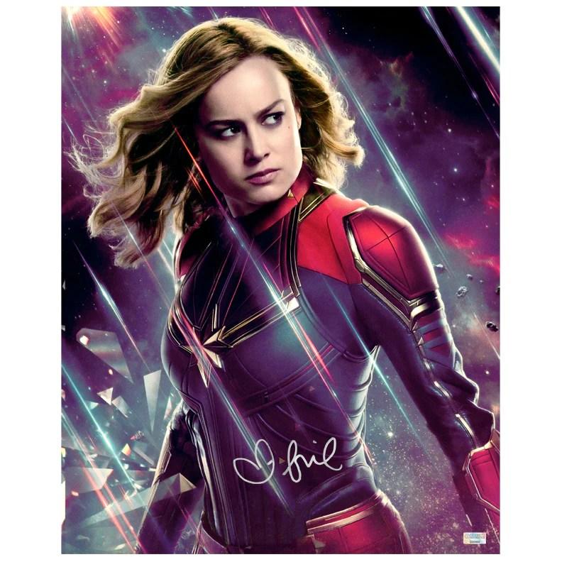 brie larson autographed avengers endgame captain marvel 16x20 photo
