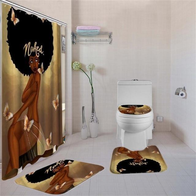 black woman get naked shower curtain set 4 piece