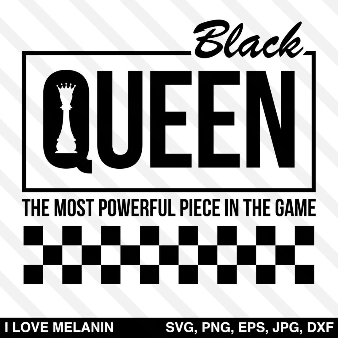 Download Black Queen Chess Checkered SVG - I Love Melanin