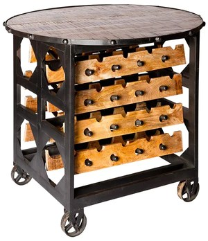 brix large industrial wine rack and table on wheels