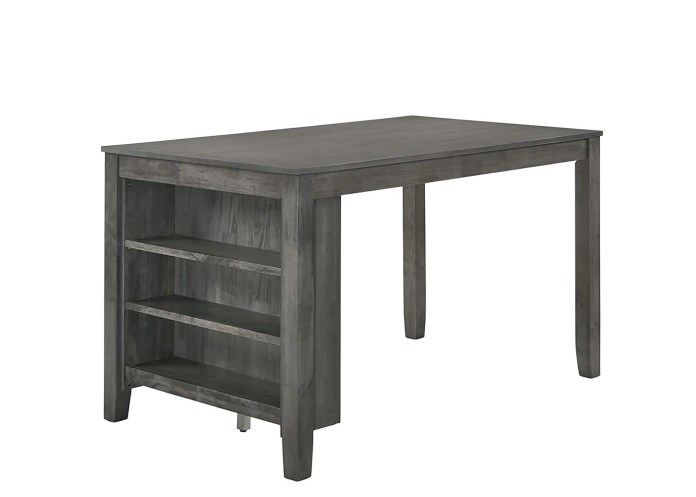 Rustic Grey 4 Piece Counter Height Dining Set With 3 Shelf Storage Fully Furnished