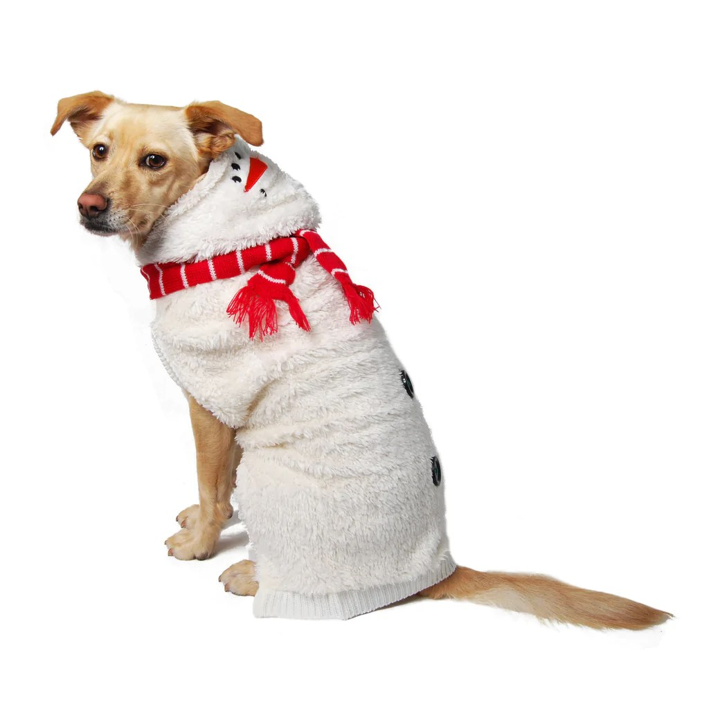 Snowman hoodie for your dog from Muttropolis