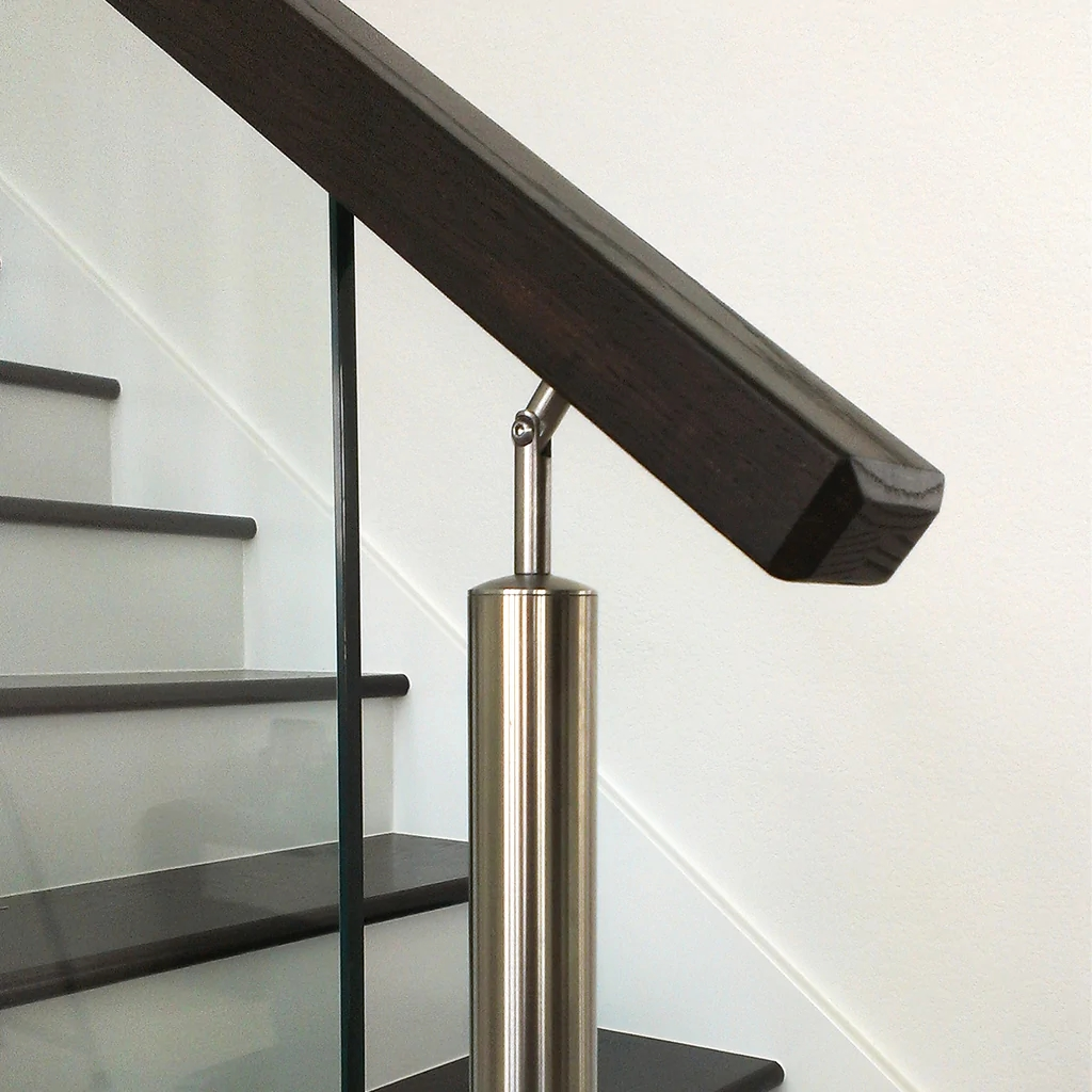 6002 Contemporary Rectangular Wood Handrail Affordable Stair | Modern Stair Hand Railing | Creative Outdoor Stair | Wooden Stair | Decorative | Curved Metal | Diy Modern