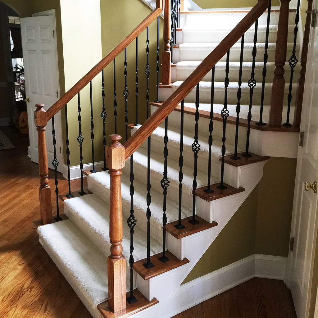 Single Ribbon Wrought Iron Baluster Affordable Stair Parts   Installing Wrought Iron Balusters   Staircase   Stair Treads   Stair Parts   Iron Stair Spindles   Wood