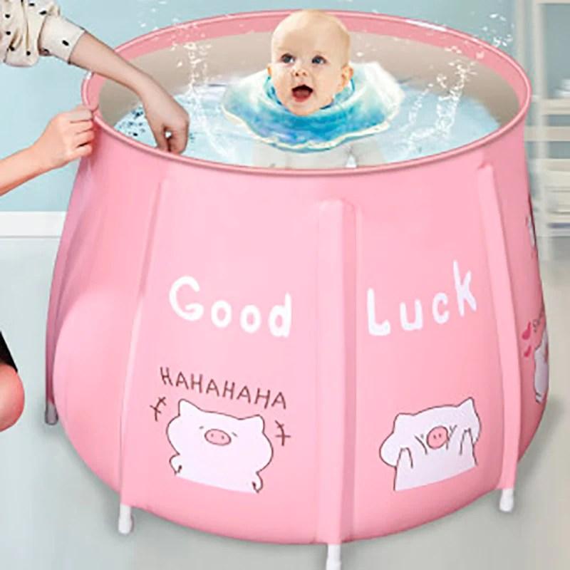 seau de baignoire portable pliable grande baignoire pour adultes isolation de la piscine pour bebe baignoire de spa familiale separee rose c