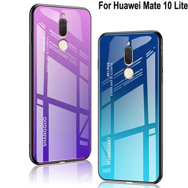 For Huawei Mate 10 Lite Case Luxury Tempered Glass Back Phone