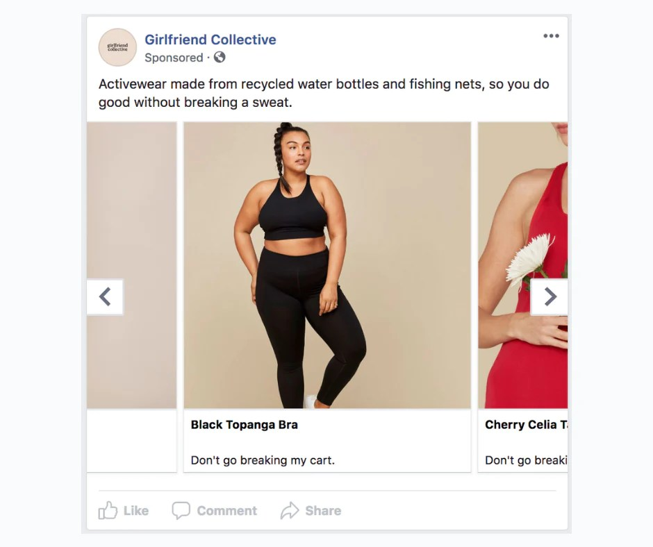 Different product types advertised on Facebook.