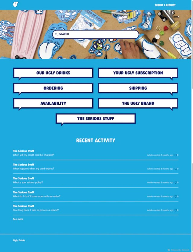 Ugly Drinks建立了可搜索的FAQ頁面,方便客戶尋找答案。
