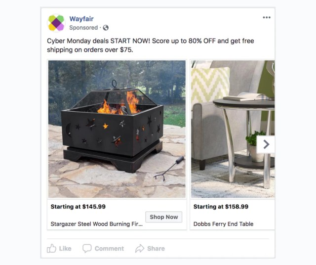 Example of a Dynamic Product Ad on Facebook.