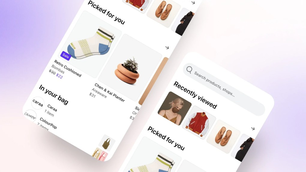 Shop app screens showing personalized product recommendations