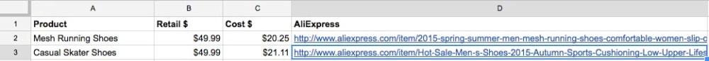AliExpress seller Excel sheet