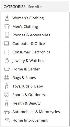 AliExpress categories