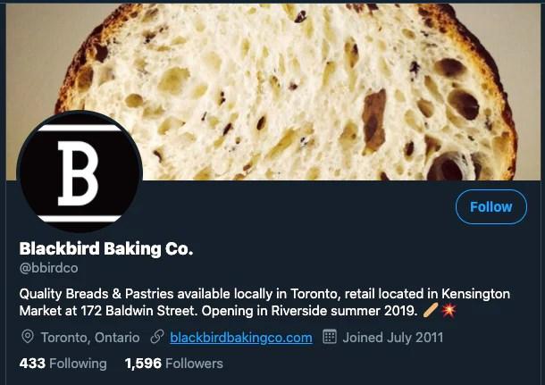 Screenshot of Blackbird Bakery's Twitter profile