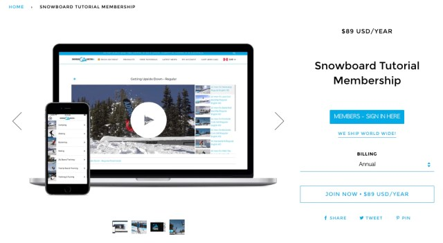 snowboard addiction selling memberships for digital products