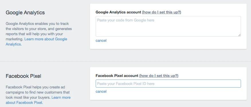 Facebook pixel integration.