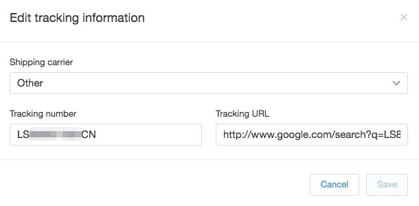 Shopify edit tracking info