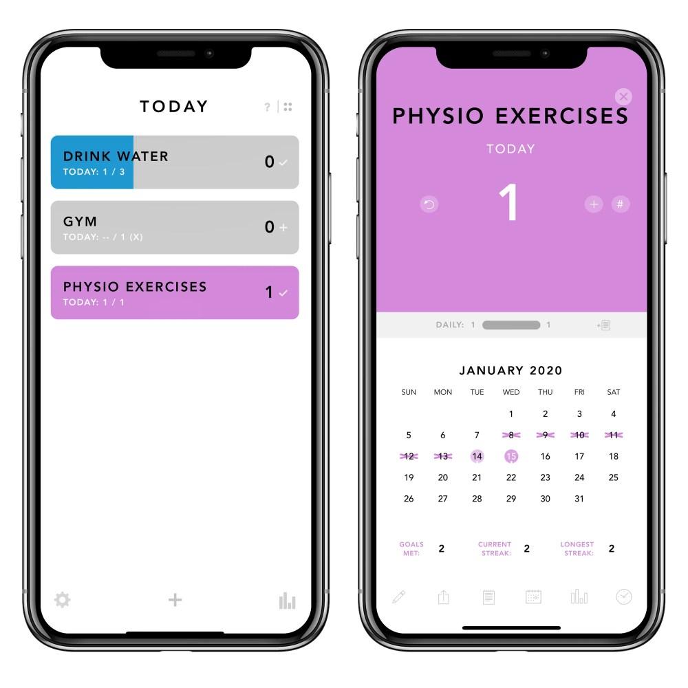 iPhone screen grabs of Done goal-setting app