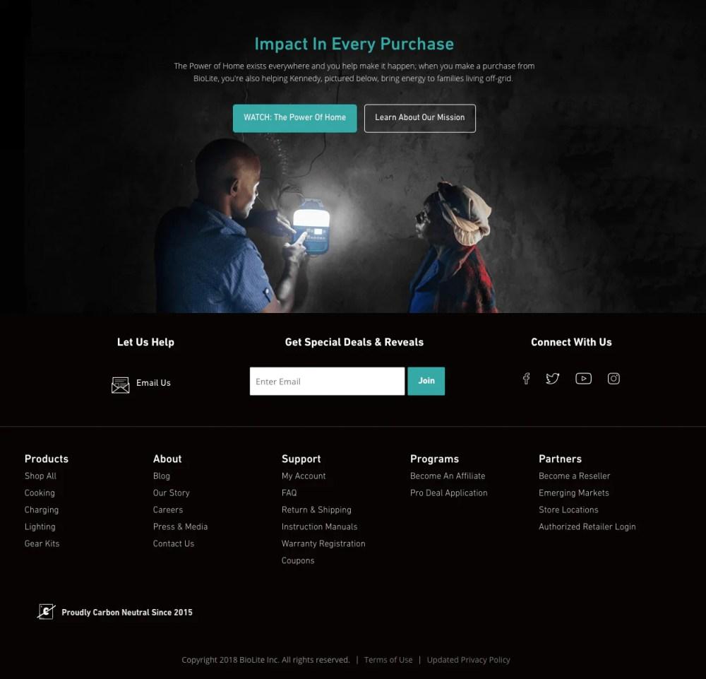 biolite energy content on homepage