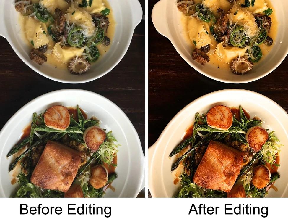 음식 사진 편집 전후