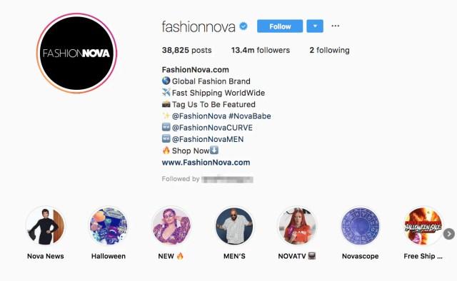 fashion nova instagram bio