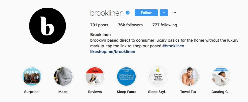 brooklinen instagram bio