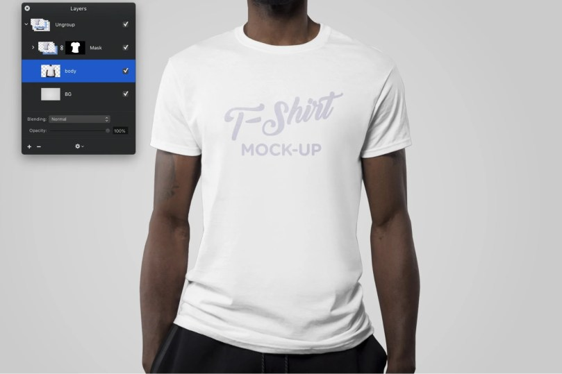 t-shirt mockup photoshop file with various layers