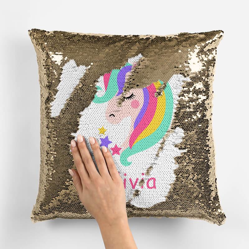 custom unicorn sequin pillow personalized unicorn mermaid pillow perfect unicorn gifts for kids