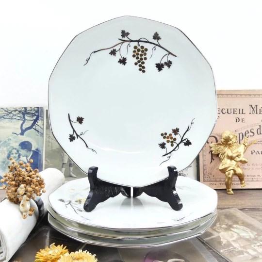 assiettes art deco francaise porcelaine de limoges blanche or et argentee