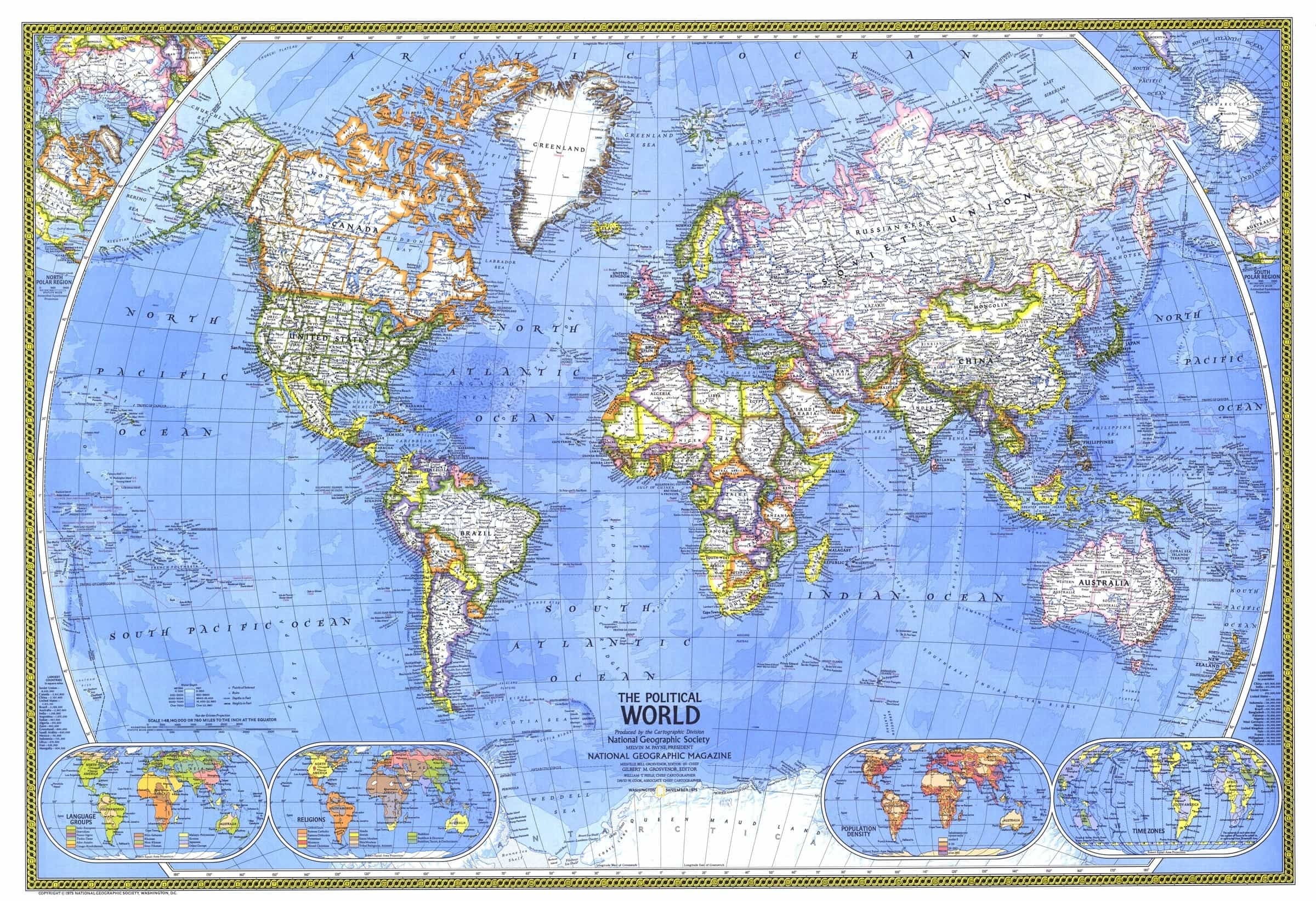 World Political Wall Map By National Geographic