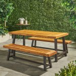 Bowman Outdoor Modern Industrial 3 Piece Acacia Wood Picnic Dining Set Gdfstudio