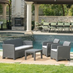 Jacob Outdoor 4 Piece Charcoal Faux Wicker Rattan Style Chat Set