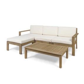 Makayla Ana Outdoor 3 Seater Acacia Wood Sofa Sectional with Cushions