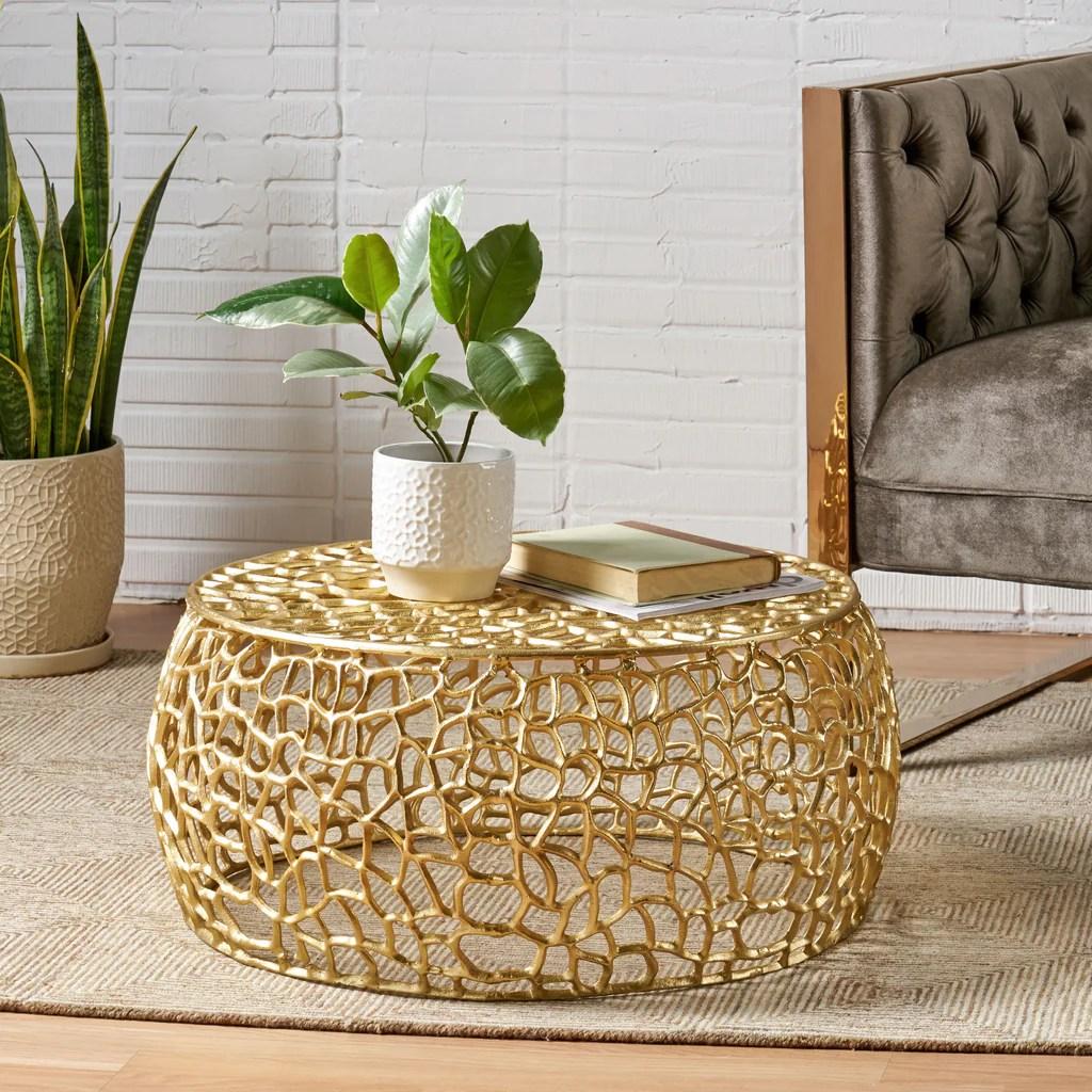 aaleyah modern aluminum mesh coffee table gold