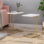 Ariade Modern Glam C Side Table Set Of 2 White And Champagne Gold Gdfstudio