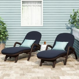Riley Outdoor Faux Wicker Chaise Lounges with Cushion (Set of 2)
