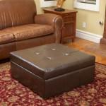 Westridge Brown Leather Storage Ottoman Gdfstudio