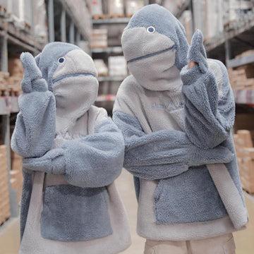Modakawa Sweatshirt Baby Shark Embroidery Zipper Letter Plush Hoodie