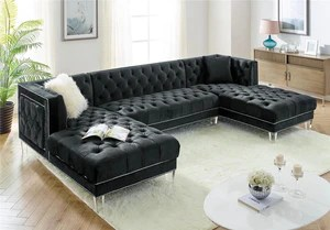 prada black velvet sectional sofa