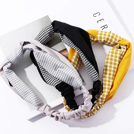 2018 New Women Elegant Plaid Patchwork Knot Headbands Hair Ornament Headwear Bandanas Hairbands Lady Fashion Hair Accessories